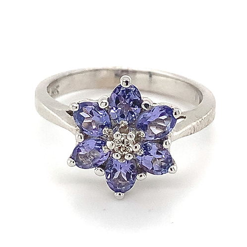 Flower-Style Tanzanite and Diamond Ring, in 14k White Gold