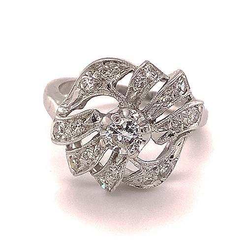 Diamond Ring with Milgrain Finish, in 14k White Gold