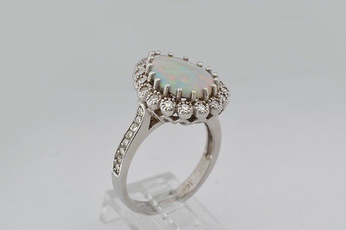 Pear-Cut Opal and Diamond Ring, in 14k White Gold