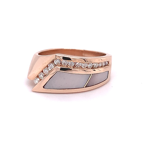 Mother of Pearl & Diamond Ring, in 14k Rose Gold