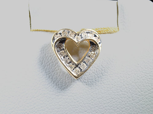 Diamond Heart Pendant, Set in 10k Yellow Gold