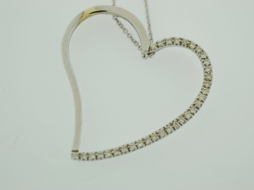 Floating Heart Pendant, Set in 14k White Gold
