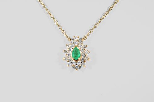 Emerald and Diamond Pendant, Set in 14k Yellow Gold