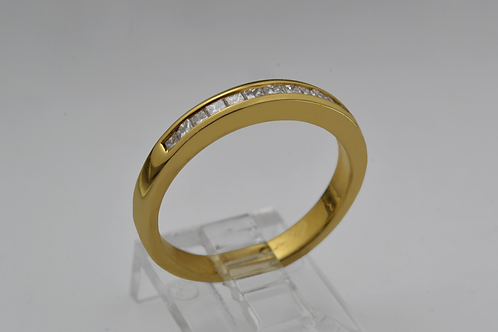 Princess-cut Channel Band, Set in 14k Yellow Gold