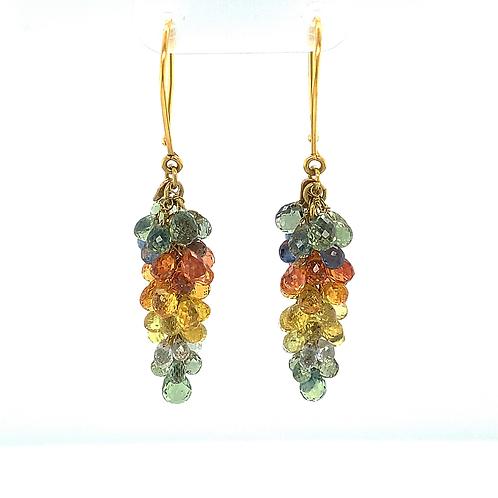 Multi-Color Sapphire Dangle Earrings, in 18k Yellow Gold