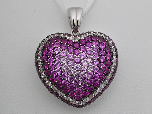 Ruby & White Sapphire Heart Pendant, in 14k White Gold