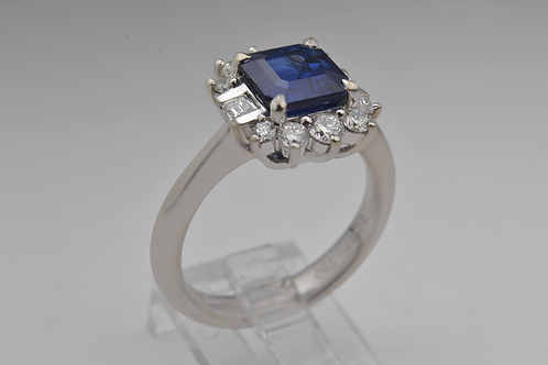 Square-Cut Sapphire and Diamond Ring, in 18k White Gold