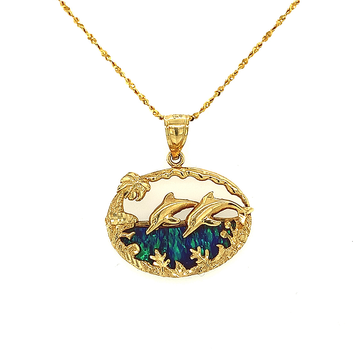 Lab Opal Pendant, in 14k Yellow Gold