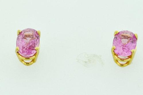 Oval Pink Sapphire Studs