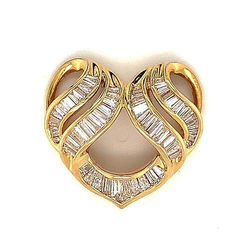 Baguette Diamond Heart Slide Pendant, in 18k Yellow Gold
