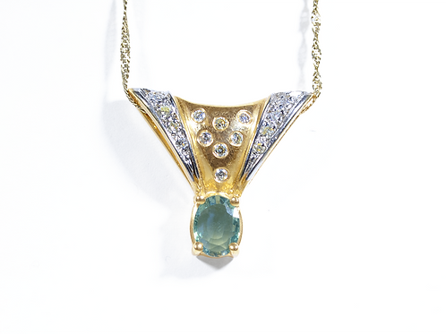 Natural Alexandrite and Diamond Pendant, Set in 14k Yellow Gold