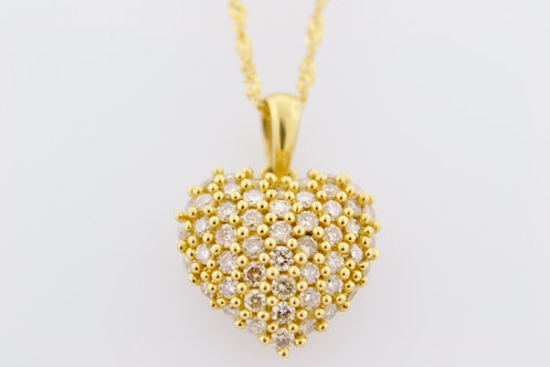 Diamond Heart Cluster Pendant, Set in 14k Yellow Gold