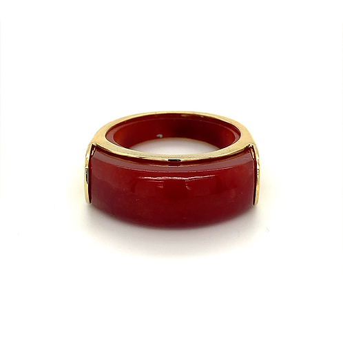 Red Jade Ring, in 14k Yellow Gold