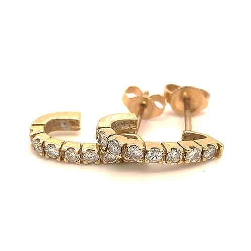 J-Hoop Diamond Earrings, in 14k Yellow Gold