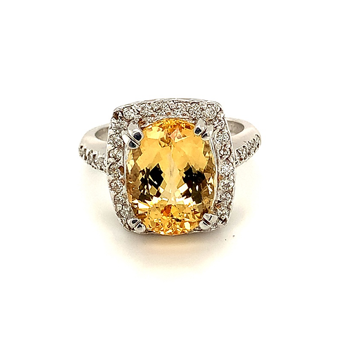 Topaz Ring with Diamond Accents, in 18k Yellow Gold