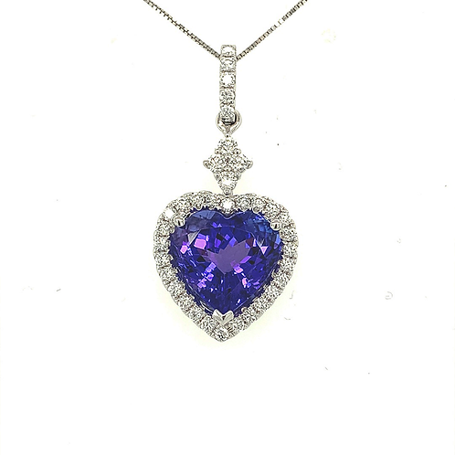 Tanzanite and Diamond Heart Pendant, in 18k White Gold