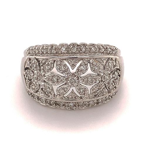 Triple Diamond-Accent Flower Ring, in 10k White Gold
