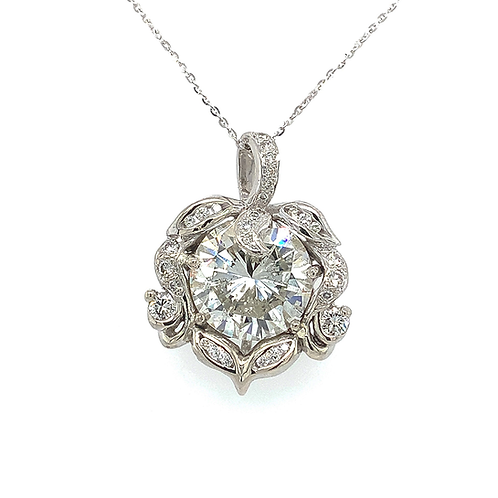 Diamond Pendant, in 14k White Gold with Adjustible Chain