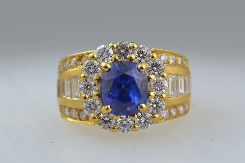 Sapphire and Multi-Channel Diamond Ring, in 18k Yellow Gold