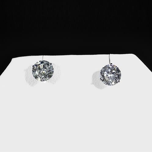 3.04CT Round Diamond Stud Earrings, in 14k White Gold