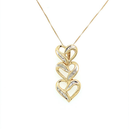 Triple Diamond Heart Pendant w/ Diamond Accents, in 10k Yellow Gold
