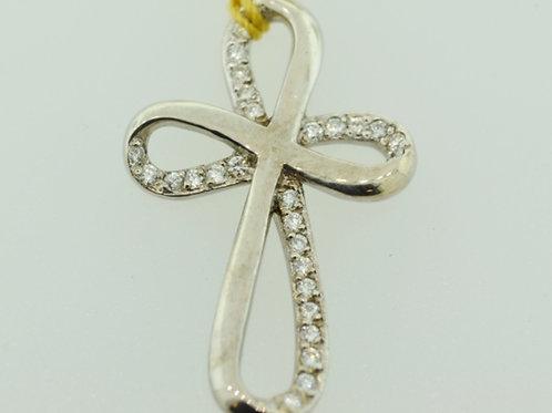 Twist Cross Diamond Pendant w/ Pavé Set Round Brilliant Diamonds in White Gold