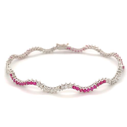 Wavy Ruby and Diamond Bracelet, in 18k White Gold
