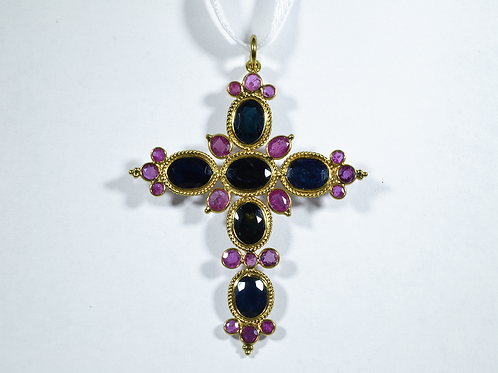 Sapphire and Ruby Cross Pendant, Set in 18k Yellow Gold