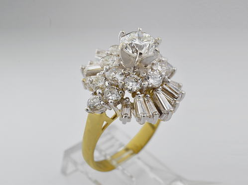 Cluster Diamond Ring, in 18k Yellow Gold