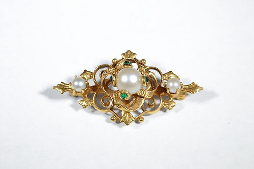 Antique Pearl Pendant with Emerald Accent in 14k Yellow Gold