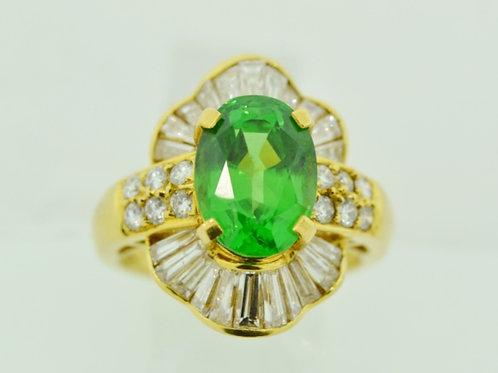 Tsavorite and Diamond Ring in 18k Yellow Gold