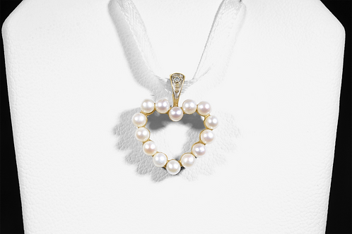 Pearl Heart Pendant with Diamond Accents, in 10k Yellow Gold