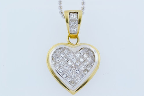 Invisible Set Diamond Pendant, Set in 14k Two Tone Gold