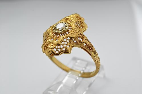 Beautiful Filigree Ring with Single Diamond in 14k Yellow Gold