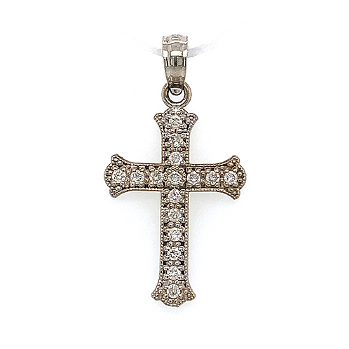 Diamond Accented Cross Pendant, in 14k White Gold