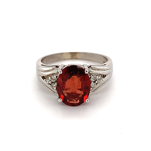 Oval Garnet and Diamond Ring, in 14k White Gold