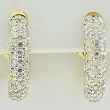 2.05ct Pavé Diamond Hoops in 14k Two Tone Gold