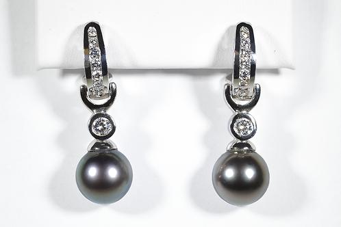 Black Pearl and Diamond Earrings, in 14k White Gold