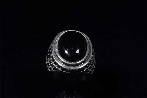 Sterling Silver Large Oval Onyx Ring