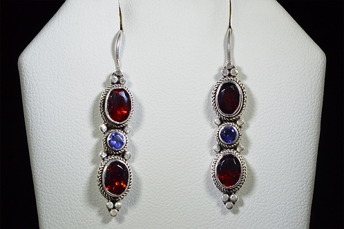 Sterling Silver Garnet & Iolite Drop Earrings
