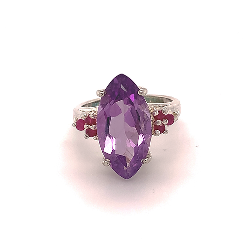 Sterling Silver Marquis-Cut Amethyst and Ruby Ring