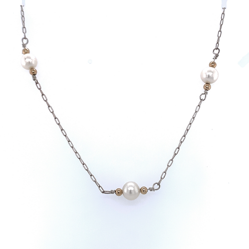 Sterling Silver and Pearl Necklace with 14k Yellow Gold Beads