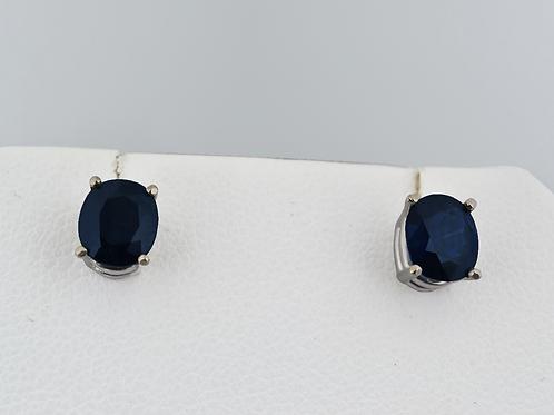 Oval-Cut Sapphire Earrings, in 14k White Gold
