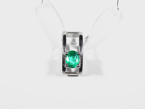 Emerald Pendant, in 14k White Gold