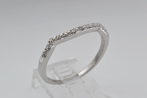 Classic Curved Diamond Band, in 10k White Gold