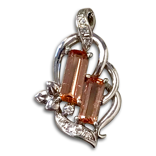 Precious Topaz and Diamond Pendant, Set in 14k White Gold