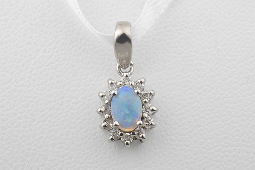 Opal and Diamond Pendant in 10k White Gold