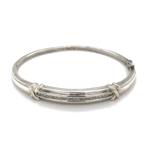 Sterling Silver Bangle with Channel-Set Diamonds