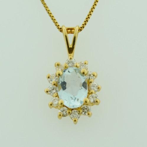 Oval Aquamarine and Diamond Pendant, Set in 14k Yellow Gold