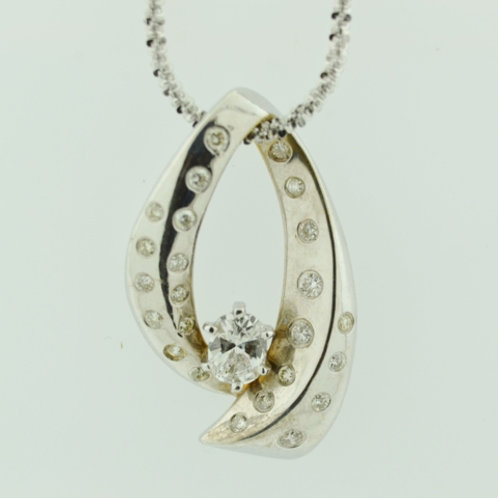White Gold Diamond Pendant in 14k White Gold